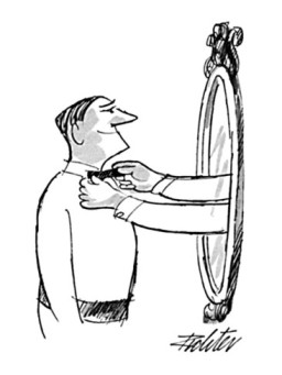 mischa-richter-man-smiling-into-mirror-as-arms-and-hands-reach-out-and-straighten-his-bow-new-yorker-cartoon