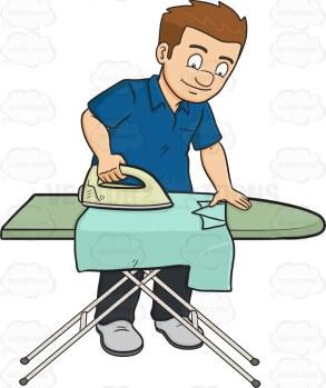A man ironing a shirt