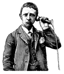 Man talking on the phone I Antique Design Illustrations